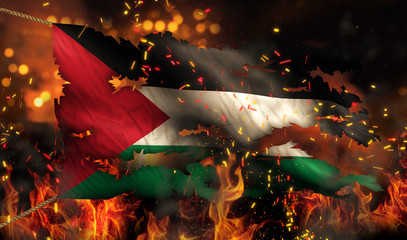 Palestine Burning Fire Flag War Conflict Night 3D