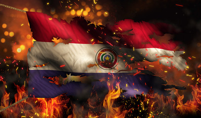 Paraguay Burning Fire Flag War Conflict Night 3D