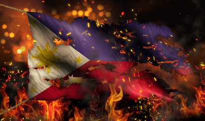 Philippines Burning Fire Flag War Conflict Night 3D