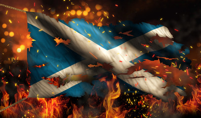 Scotland Burning Fire Flag War Conflict Night 3D
