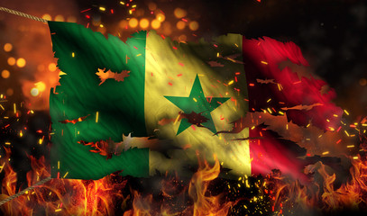Senegal Burning Fire Flag War Conflict Night 3D