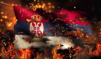 Serbia Burning Fire Flag War Conflict Night 3D