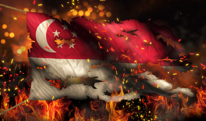 Singapore Burning Fire Flag War Conflict Night 3D