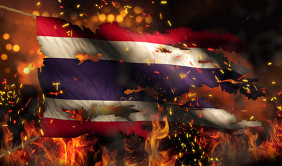 Thailand Burning Fire Flag War Conflict Night 3D