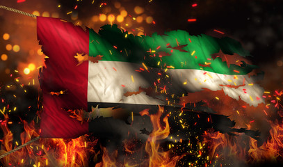 United Arab Emirates Burning Fire Flag War Conflict Night 3D