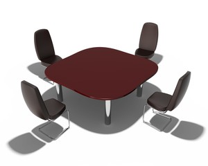 table and chairs in the office