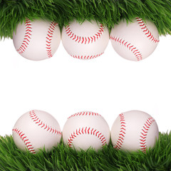 Baseball. Balls on Green Grass isolated on white