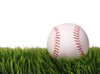 Baseball on Green Grass, isolated on white.