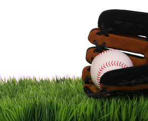 Baseball in Glove on Green Grass, isolated on white.