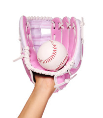 Hand of Baseball Player with Pink Glove and Ball isolated