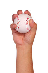 Baseball in Hand isolated on white. Ball with clipping path