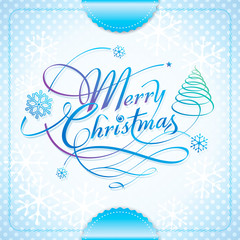 Merry Christmas handwriting calligraphy lettering.
