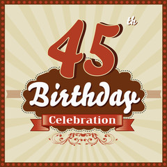 45 years celebration, 45th happy birthday retro style card