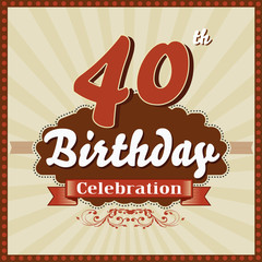 40 years celebration, 40th happy birthday retro style card