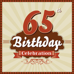 65 years celebration, 65th happy birthday retro style card