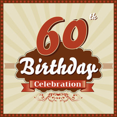 60 years celebration, 60th happy birthday retro style card