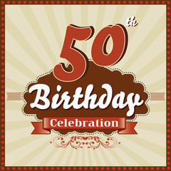 50 years celebration, 50th happy birthday retro style card