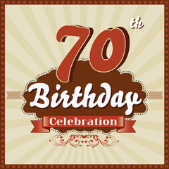 70 years celebration, 70th happy birthday retro style card