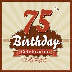 75 years celebration, 75th happy birthday retro style card
