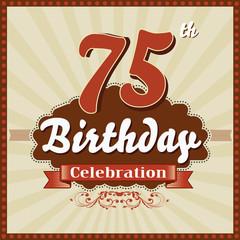 75 years celebration, 75th happy birthday retro style card