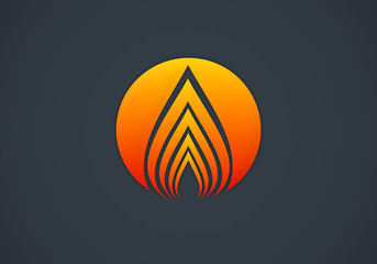 fire abstract round vector logo