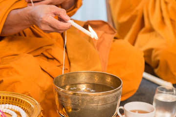 holy water, the monks and religious rituals in thai ceremony