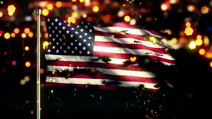 USA America Flag Torn Burned War Freedom Loop Animation
