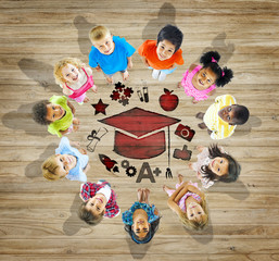 Multiethnic Children with Education Concept