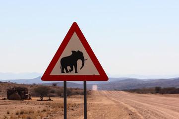 """Traffic Sign """"Elephant Warning"""", Namibia"""