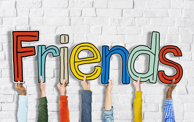 Multiethnic Group of Hands Holding Letter Friends