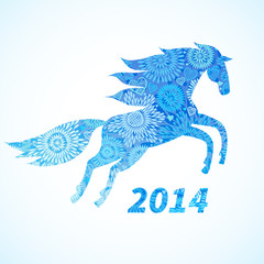 Horse, decorated with blue flower patterns.
