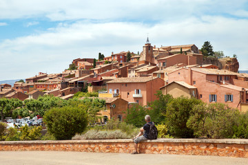 View of the medieval village Roussillon, Luberon