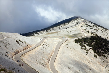 The road to peak of Mont Ventoux in Provence, South France