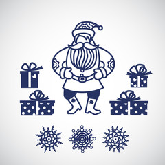 Jolly Santa Claus with a gifts and snowflakes.