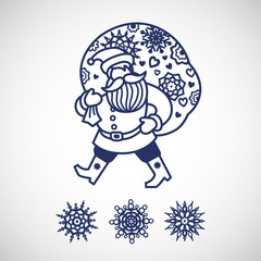 Jolly Santa Claus with a bag of gifts and snowflakes.