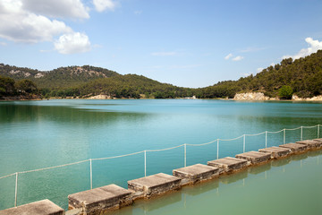 The artificial lake on river in Provence, France
