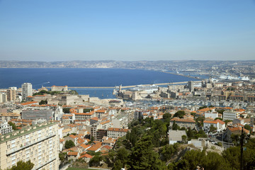 The view of Marseille from Basilica Notre-Dame of the Garde