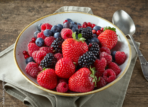 canvas print picture bowl of fresh berries