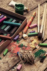crayons and pencils for drawing in old style
