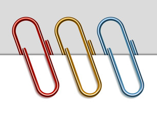 Set of colored paper clips