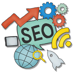 Aerial View of People and SEO Concepts