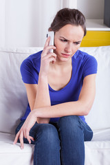 Angry woman during mobile phone call