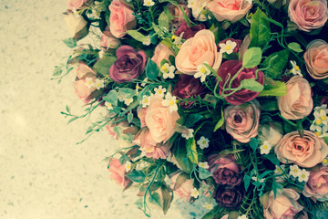 Artificial rose flowers mixed bouquet
