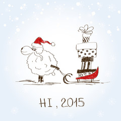 Funny sketching sheep - symbol of the New Year 2015