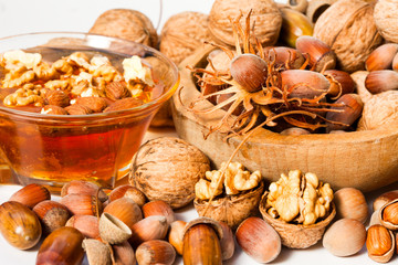 honey with hazelnuts and walnuts, autumn products