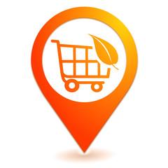chariot bio sur symbole localisation orange