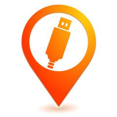clef usb sur symbole localisation orange