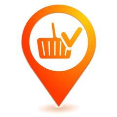valider le panier sur symbole localisation orange