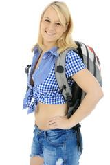 Wanderer mit Rucksack auf Wanderurlaub