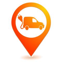 véhicule utilitaire électrique sur symbole localisation orange